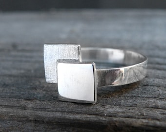 Double square Ring-sterling silver