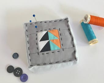 Modern Gray Quilted Patchwork Pin Cushion | Pincushion