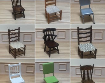 1:12 Scale Dollhouse Miniature Kitchen Chairs (each sold individually)