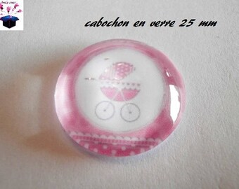 1 cabochon clear 25 mm baby theme
