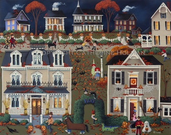 Halloween Folk Art Print Echoes of Trick or Treat