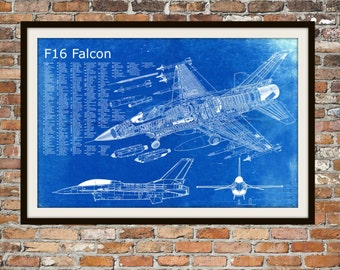 Blueprint Art of F-16 Falcon Jet PlaneTechnical Drawings Engineering Drawings Patent Blue Print Art Item 0052