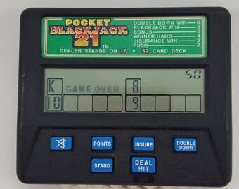 Vintage Radica Pocket Blackjack 21 Handheld Electronic Travel Card Game