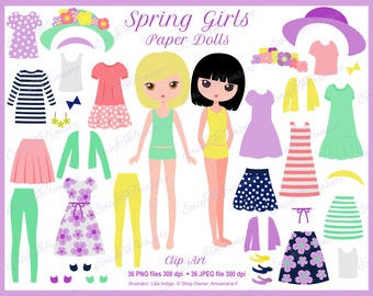 Printable paper doll, fashion clipart, girl clipart, paper doll clipart, clothing clip art, digital paper dolls