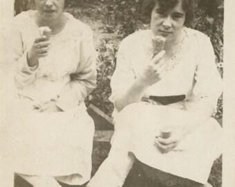 vintage photo 1920 Young Women Enjoy Eating Ice Cream Cone