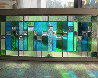 Modern Green and Blue Stained Glass