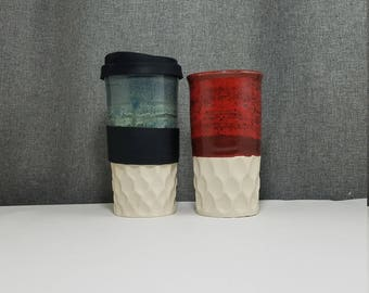 IN STOCK*** Ceramic Travel Tumbler / Commuter mug with silicone lid - Coral Blue - Candy Red - Carved