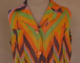 Vintage 60s - Crepe Zig Zags orange, brown and green sumner dress