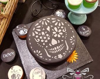 Sugar Skull Cake Stencil - Halloween or Dia de los Muertos - Food safe cake decorating stencil