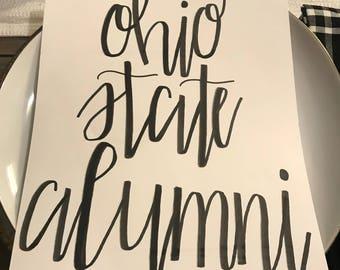 Ohio State Buckeyes Alumni handmade calligraphy print