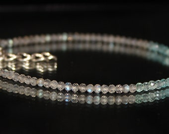 Aqua Apatite & Labradorite Bracelet, Delicate Quartz Crystal Jewelry, Blue Gray Beaded Bracelet, Sterling Silver, Apatite Bracelet 0020