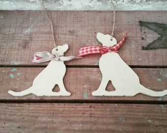 Hanging Labrador Decoration, Sitting Handpainted Labrador Ornament, Gift for Labrador Lover, Gift for Dog lover, Memento, Keepsake