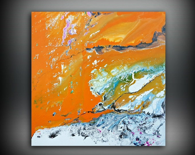 ORIGINAL Painting, Art Painting Acrylic Painting Abstract Painting Orange Painting, Wall Hanging, Extra Large Wall Art, Wall Decor 48 x 48