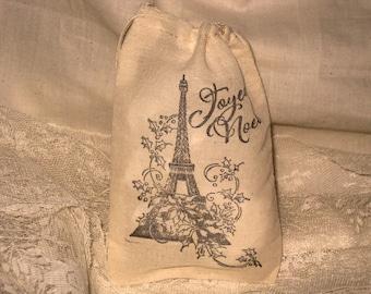 Vintage Christmas Hand Stamped  Muslin Gift Bag Eiffel Tower Joyeux Tower ECS