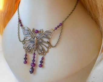 Purple Butterfly Renaissance Necklace, Medieval Costume Necklace, Butterfly Necklace, Butterfly Fairy, Fae, Bridal Necklace, Fantasy,Cosplay