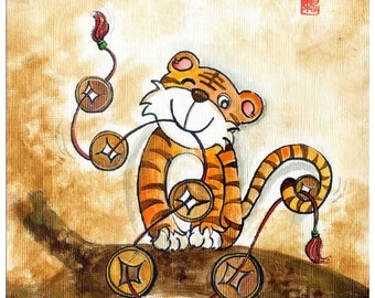 year of the tiger, little tiger print, boy room art, gift for him, Chinese zodiac, tiger cub, personalized gift, orange, 7th birthday, A4