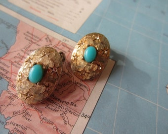 Gold and Turquoise Clip On Earrings