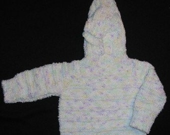 White/Multicolor Hooded Zipperback Sweater for Baby