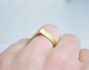 Matt Brass Ring, geometric ring, minimalist, handmade