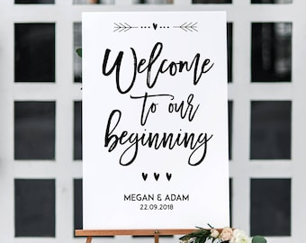 Personalised Welcome to our Beginning A3 Poster -white, ivory or kraft brown-Backed or Unbacked/Unframed-FREE UK POSTAGE