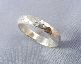 Wedding Hammered Silver Ring 5mm - ElenadE