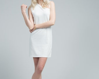 White Dress / Shift Dress / Casual Short Dress / White Tunic / Sleeveless Dress / One Shoulder Dress / Marcellamoda - MD0636