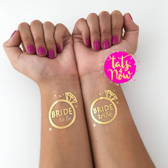 Diamond Ring Bride Tribe + Bride To be gold tattoos