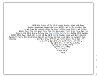 UNC Alma Mater Print - North Carolina Typography Print - 8x10