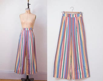 1940s high waist wide leg cotton striped pants / extra small - small