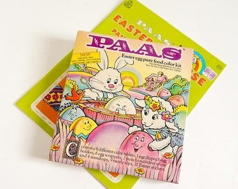 SALE Vintage 1980s Paas Easter Egg Food Color Kit NOS For Display Collectible