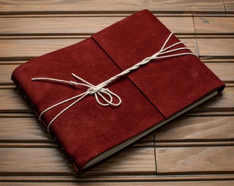 Leather Journal or Leather Sketchbook, Large Sized, Brick Red Nubuck Leather Handbound Photo Album