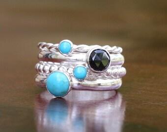 Artisan Mikaela Turquoise Sterling Silver Stacking Ring Set