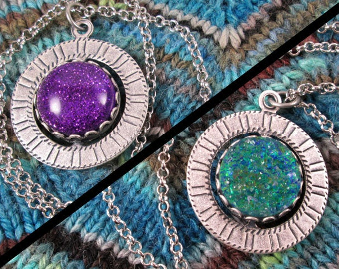 Spinner Pendant Necklace - Silver, Purple & Teal Gems - Stim Jewelry