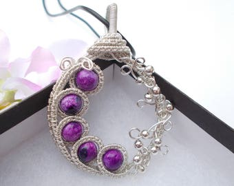Calsilica pendant , wire wrapped pendant , wire wrapped jewelry , wire jewelry , gemstone necklace , purple jewelry , purple calsilica
