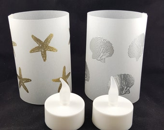 Vellum Luminaries With LED Tea Lights - Coastal Designed Vellum Luminaries