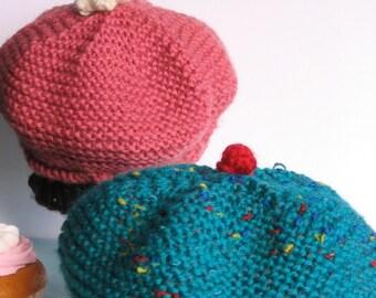 Cupcake Hat - Knitting Pattern PDF  baby and toddler size