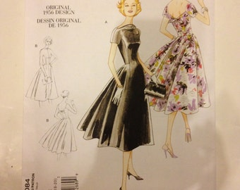 Vogue V1084 Vintage Dress Pattern Size AA 6 8 10 12 Reproduction 50s Pattern