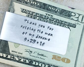One money clip /  Father of the Bride gift / Father of the Groom gift / Gift for father in law / Thank you for raising the man of my dreams