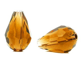 Drop faceted glass TOPAZ 11x8mm beads 10 x