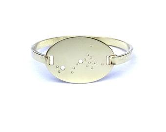 Scorpio High Polished Raw Brass Zodiac Constellation Oval Bracelet