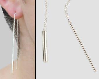 Sterling Silver Earrings, Threader Earrings, Ear threaders, Long Chain Earrings, Tube Earrings, Dangle Earrings, Minimalist Earrings