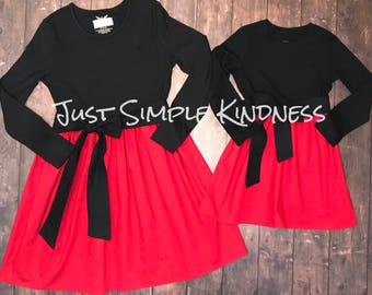Mommy & Me Dresses, Mother Daughter Dress, Mom and Me Dress, Mom and Me outfits, Mom and baby Dress, Mommy and Me Christmas Dresses, Red