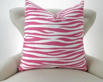 Pink Zebra Pillow Cover -MANY SIZES- Hot Candy Stripe Miami - decorative throw euro sham custom cushion modern zoo