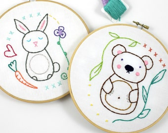 Bear and Bunny. Hand Embroidery Pattern. PDF Pattern. Embroidery Designs. Woodland Creatures. Nursery Hoop Art. Embroidery Hoop art. Cute.