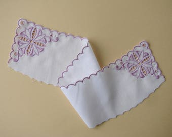 Fabric insert, 38 cm purple embroidered white cotton.