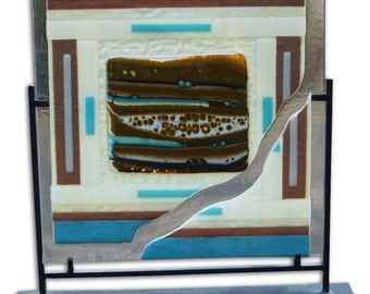 Fused Glass Panel Southwest Desert Boiled Glass with Stand