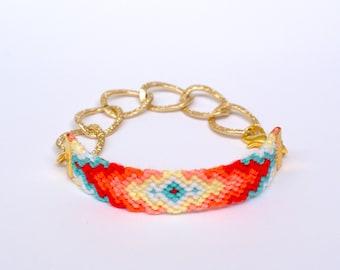 Chunky Chain Friendship Bracelet. Aztec.