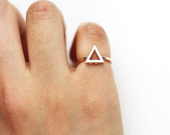 14K Solid Gold Triangle Ring Gold Ring Unique Ring Minimalist Ring Geometric Ring