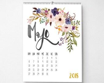 Calendario 2018, 11x14, calendario de pared, calendario mensual, Watercolor Flower Gifts for Her  (cal0001)