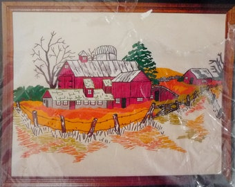 """Vintage Crewel Embroidery Kit """"The Old Red Barn"""" by Pik, Large Size 14"""" x 18"""", Rural Farm Scene"""